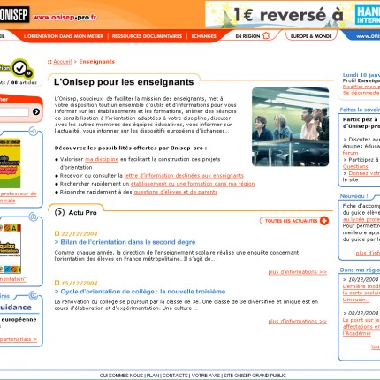 Onisep site professionnel : Accueil enseignants