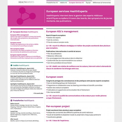 HealthExperts : Prestations (détail)