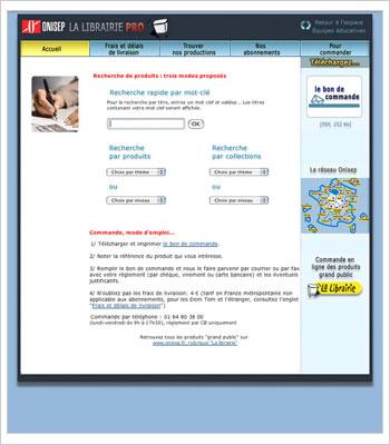 Onisep Espace pro : Interface de recherche Librairie