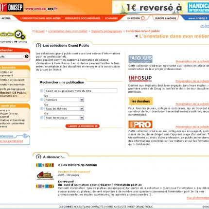 Onisep site professionnel : Interface de recherche de publication