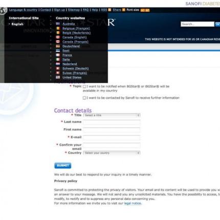 BGStar.com : Formulaire de contacte et liste des pays