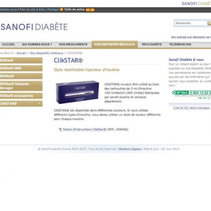 Sanofi Diabète : Dispositifs médicaux