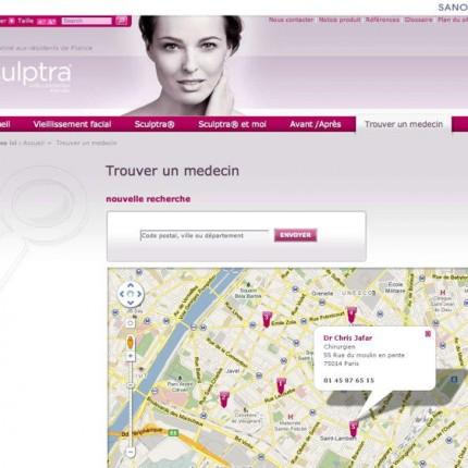 Sculptra.fr : Recherche de praticien avec GoogleMaps