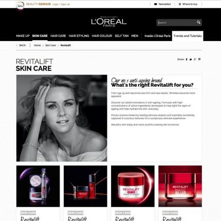 Page ligne de produits L'Oréal Paris UK