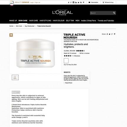 Page produit L'Oréal Paris UK