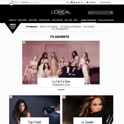 Page éditoriale L'Oréal Paris UK