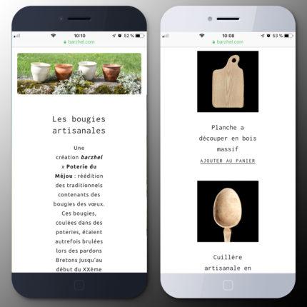 barzhel version mobile catégorie et produit